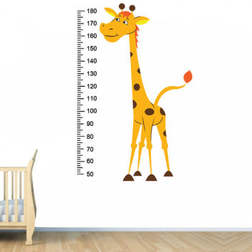 Vinyl Wall Decal Giraffe / Baby Growth Height Chart Measurement Ruler Sticker / Child Kids Room Decoration Art + Free Random Decal Gift!