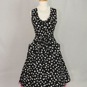 Vintage 90's Polka-dot Circle Dress 50's Style Black & White