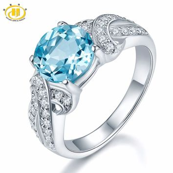 Hutang Trendy 2.56ct Genuine Blue Topaz Ring Solid 925 Sterling Silver Gemstone Fine Jewelry for Women Birthday Anniversary Gift