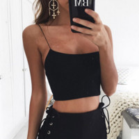 Hot sale fashion sexy straps pure color pure cotton belly hollow top