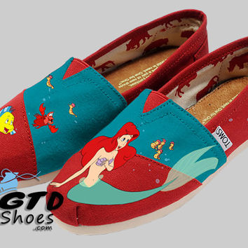 Hand painted Toms. The Little Mermaid. Ariel. Sebastian. Flounder. Handpainted shoes.