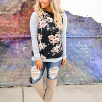Fall Fun Hoodie (Floral/Grey Sleeves) (PREORDER)