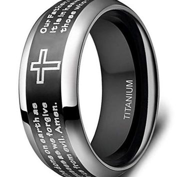 CERTIFIED 8mm Men's Titanium Black Lords Prayer Christian Scripture Cross Praying Ring