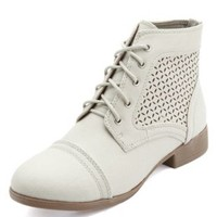 Laser-Cut Eyelet Combat Boots by Charlotte Russe - Stone