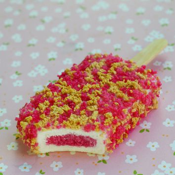 Strawberry Short Cake Ice Cream Bar Miniature Food Polymer Clay Food Magnet