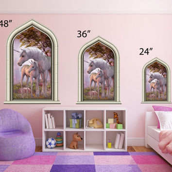 NEW Castle Scape Instant Fairy Tale Window View Horse Unicorn w/ baby #1 Wall Decal Sticker Graphic Kids Room Mural Art Decor - USA SELLER