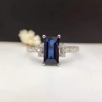 1.076ct+0.203ct 18K Gold Natural Sapphire Women Ring with Diamond Setting 2016 New Fine Jewelry Wedding Band Engagement