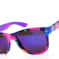 W1325-vp Wayfarer 80s Mirrored Sunglasses W Pouch (T80srv #1 Purple Lens, Mirrored)