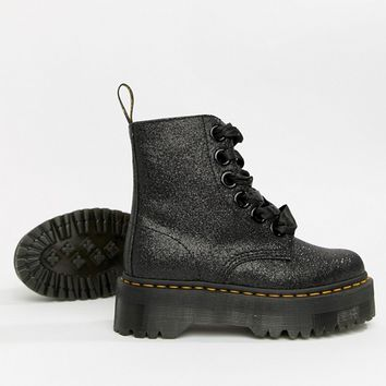 Dr Martens Molly Black Glitter Chunky Flatform Boots at asos.com