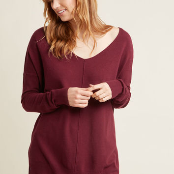 Double Lunch Date Sweater in Cranberry in XL