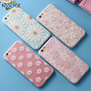 KISSCASE Glitter Diamond Phone Case For iPhone 6 6S Cute Flower Matte Back Cover For iPhone 6 6s Plus Soft Silicone Daisy Capa