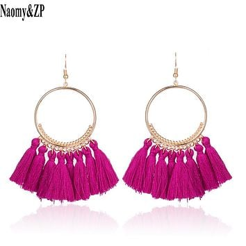 Naomy&ZP Vintage Bohemian Handmade Cotton Tassel Earrings for Women Long Big Ethnic Fringe Drop Earrings Party Jewelry Bijoux