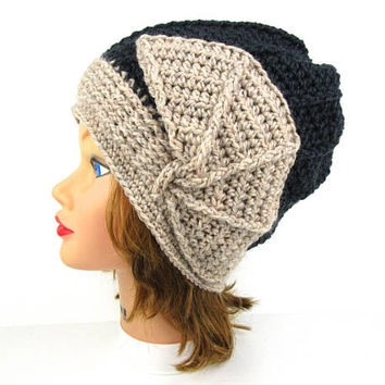 Crochet Cloche Hat - Women's Hat - 1920s Cloche Hat - Flapper Hat - Natural Mix Mercury Hat - Wool Beanie - Crochet Accessories