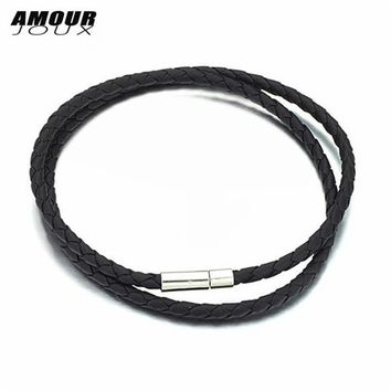 AMOURJOUX 4mm 48cm PU Leather Braided Stainless Steel Clasp Chains Necklaces For Women Men Jewelry