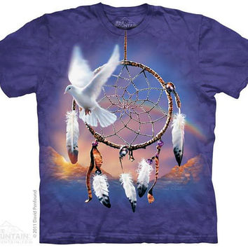 woman's or men's plus size t-shirt, dove dream catcher, stonewashed, multicolored size 2xl, brand new 100% preshrunk cotton