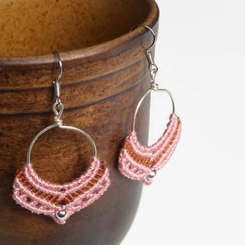 Pink macrame earrings with wire and beads, handmade boho earrings, gypsy style fashion jewelry, chandelier earrings from embroidery thread