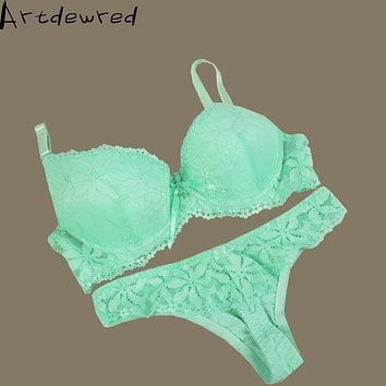 Artdewred brand Thong Bra Set Push Up French Embroidered Lace Women's Underwear Sets ABC Cup Bra And Panty Deep V Brassiere set