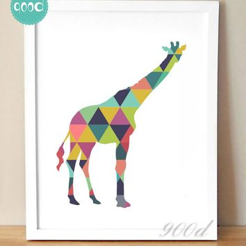 Geometric Giraffe Canvas Art Print Painting Poster, Wall Pictures For Home Decoration, Frame not include 237-33
