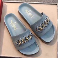 Valentino Women Fashion Casual Casual Shoes Sandals Slippers F Light blue