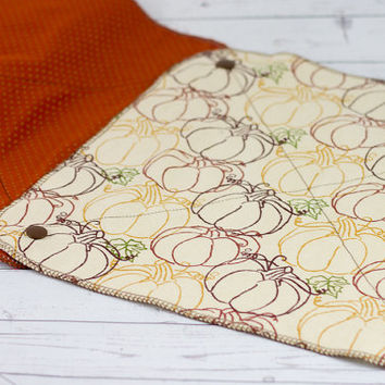 Reusable Paper Towels with Snaps - Pumpkins, Autumn, Fall - Eco-Friendly Unpaper Towels - Set of 6 Towels