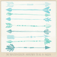 Hand painted watercolor clipart arrows tribal (36 pc) teal aqua turquoise green. handpainted for logo design blogs cards printables wall art