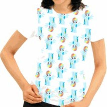 My Little Pony Rainbow Dash All Over Juniors White T-shirt - My Little Pony - Free Shipping on orders over $60 | TV Store Online