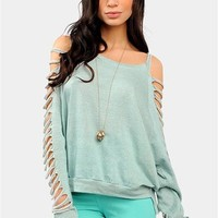 Shredded Love Sweatshirt - Mint