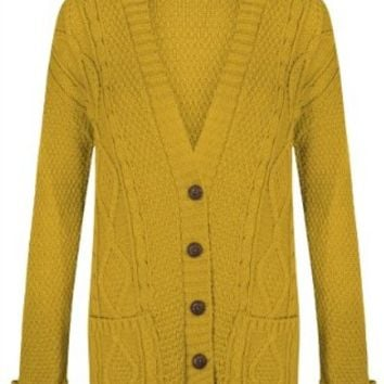 Womens Ladies Chunky Cable Knitted Long Sleeve Button Grandad Knitwear Cardigan - MUSTARD - One Size(UK8-14) - (Mixed Fibres)