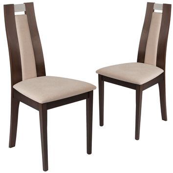 2 Pk. Quincy Wood Dining Chair with Curved Slat Wood and Fabric Seat