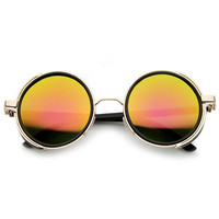 Steampunk Retro Studio Cover Mirror Lens Round Sunglasses 9619