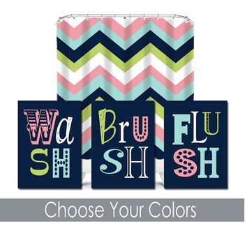 Wash Brush Wall Art Canvas Bathroom Artwork Brother Sister Navy Pink Aqua Lime Set of 3 Prints Decor Kid Chevron Shower Curtain Match Three