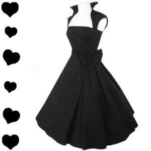 New Black Rockabilly 50s FULL SKIRT Swing Dress M L PARTY Pinup Prom Bridal BOW | eBay
