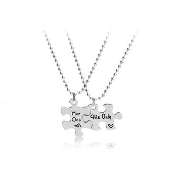 his only her one couple Necklaces pendants Bead chai jewelry Interlocking Jigsaw Puzzle Necklace for lover girlfriend