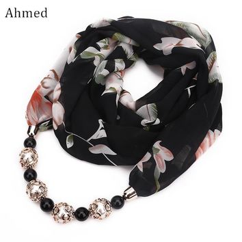 Ahmed New Fashion Head Scarves Printing Flower Pattern Chiffon Beads Scarf Necklace For Women Maxi Statement Necklaces Jewelry