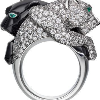 Panthère de Cartier ring: Panthère de Cartier ring, 18K white gold, set with 309 brilliant-cut diamonds totaling 2.40 carats. Emeralds