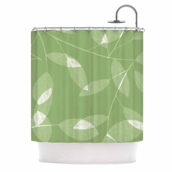 "Alison Coxon ""Leaf Olive"" Green Shower Curtain"