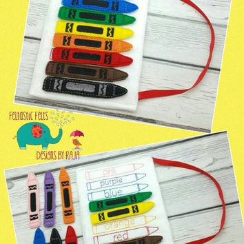 Crayon color matching game embroidered, educational, montessori, memory, matching, learning, color game, primary colors,