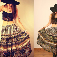 Vintage Green Indian Cotton Gauze Gypsy Skirt
