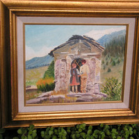 Hansel and Gretel Fairytale Witch's Cottage Girl Boy Folk Art Fairy Tale Oil Painting