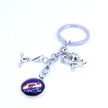 Ice Hockey Keychain NHL USA HOCKEY Charm Key Chain Car Keyring for Women Men Party Birthday Keyrings Gifts New 2017