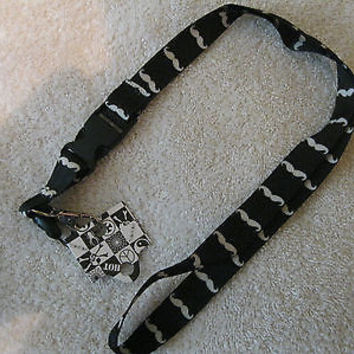 "Black And White Mustaches 15"" lanyard for ID Holder Mobile Device-New With Tags!"