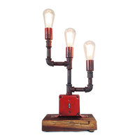 Industrial Light: Industrial Red Lamp, Modern Lighting, Industrial Lighting, Pipe Light, Steel Pipe Lamp, Light with Switchbox, Edison Bulbs