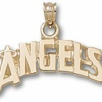 "Los Angeles Angels of Anaheim Arched ""Angels"" with a Halo 5/8"" Pendant - 10KT Gold Jewelry"