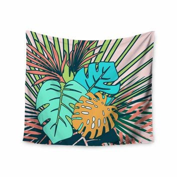 """bruxamagica """"Tropical Leaves Pink"""" Pink Green Floral Nature Illustration Digital Wall Tapestry"""