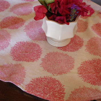 Vintage Feedsack Table Topper Pink Floral by KaysGeneralStore