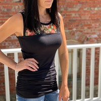 Floral Mesh Accent Tank