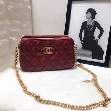 HCXX 19June 637 Double bag classic Embossing Chain Sigle Shoulder Bag 26-15.5-9.5 red