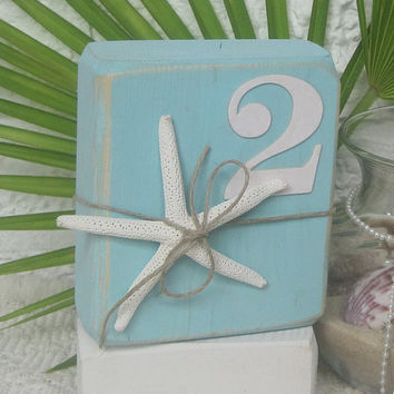 Wood  Table Number - Beach Starfish -  Ocean Mist Blue w/White base - Beach wedding decor