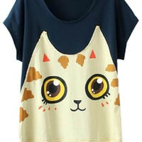 Cat Print Short Sleeve T-Shirt