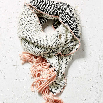 Contrast Fringe Diamond Knit Scarf - Urban Outfitters